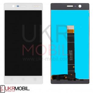 Дисплей Nokia 3 Dual Sim TA-1020, TA-1028, TA-1032, TA-1038, с тачскрином, White