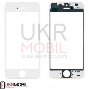 Стекло дисплея с рамкой и пленкой OCA Apple iPhone 5S, Original, White