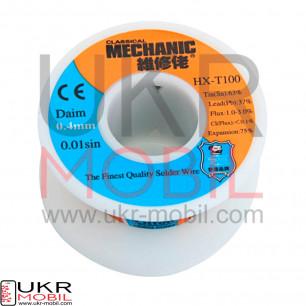 Припой Mechanic HX-T100, Sn 63%, Pb 37%, флюс 1.3%, 0,4mm, 50g