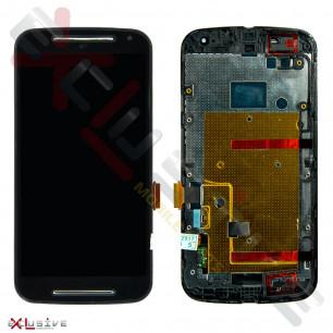 Дисплей Motorola XT1062 Moto G2, XT1063 Moto G2, XT1064 Moto G2, XT1068 Moto G2 с рамкой и тачскрином, Black