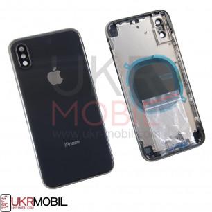 Корпус Apple iPhone X, задняя крышка со стеклом камеры, в сборе, Original PRC, Black