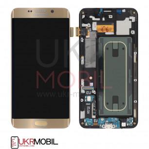 Дисплей Samsung G928, G928F Galaxy S6 Edge Plus, Super AMOLED, с тачскрином, с рамкой, Gold