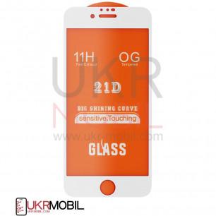 Защитное стекло Apple iPhone 6, 6S, Full Glue 2.5D, White