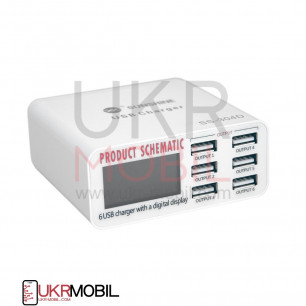Зарядное устройство Sunshine SS-304D, 6 USB портов, 5A, 30W, индикатор тока заряда, защита от КЗ,