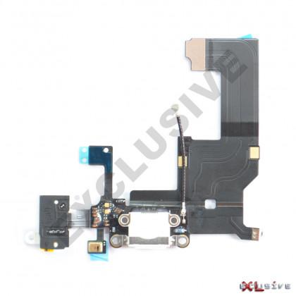 Шлейф Apple iPhone 5, с разъемом зарядки, гарнитуры, Original PRC, White, фото № 1 - ukr-mobil.com