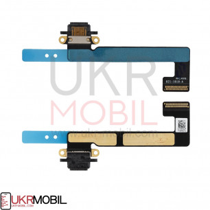 Шлейф Apple iPad Mini 2 Retina (A1489, A1490, A1491), iPad Mini 3 Retina (A1599, A1600), коннектор зарядки, с компонентами, Black