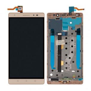 Дисплей Lenovo Phab 2 Plus PB2-670M, с тачскрином, рамкой, Original PRC, Gold