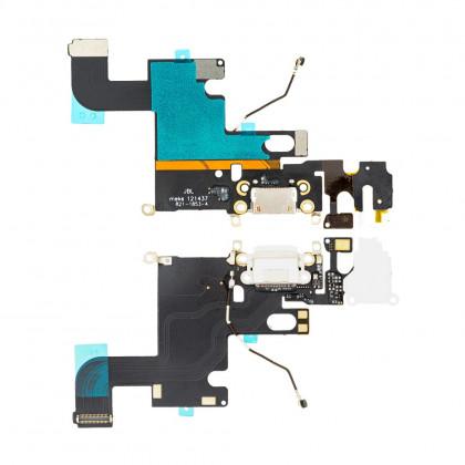 Шлейф Apple iPhone 6, коннектор зарядки, разъем гарнитуры, с микрофоном, Original PRC, White - ukr-mobil.com