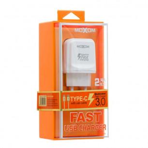 Сетевое зарядное устройство Moxom KH-31Y, QC 3.0, ( в комплекте - кабель Type-C )