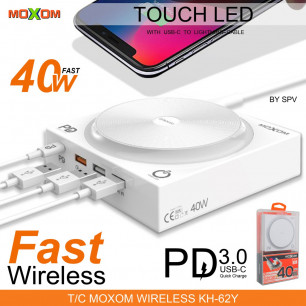 Беспроводное зарядное устройство Moxom KH-62Y, 4USB, 1 USB-C, QC 3.0, Power Delivery 3.0