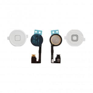 Шлейф Apple iPhone 4S кнопка Меню + пластиковая кнопка, White