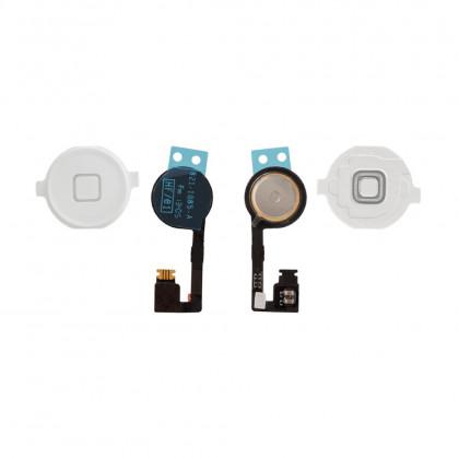 Шлейф Apple iPhone 4S кнопка Меню + пластиковая кнопка, White - ukr-mobil.com