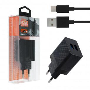Сетевое зарядное устройство Moxom MX-HC22, Type-C, 2USB, ( в комплекте - кабель Type-C )