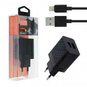 Сетевое зарядное устройство Moxom MX-HC22, Lightning, 2USB, ( в комплекте - кабель Lightning )