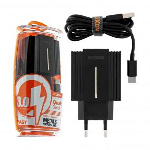 Сетевое зарядное устройство Moxom MX-HC12, Type-C, QC 3.0, 2USB, ( в комплекте - кабель Type-C )