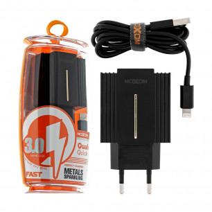 Сетевое зарядное устройство Moxom MX-HC12, Lightning, QC 3.0, 2USB, ( в комплекте - кабель Lightning )