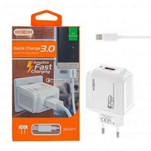 Сетевое зарядное устройство Moxom KH-67Y, Lightning, QC 3.0, ( в комплекте - кабель Lightning )