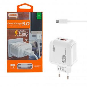 Сетевое зарядное устройство Moxom KH-67Y, Micro USB, QC 3.0, ( в комплекте - кабель Micro USB )