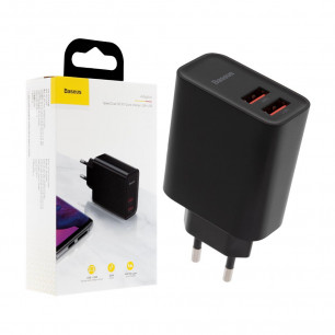 Сетевое зарядное устройство Baseus Speed Dual QC3.0 Quick charger (CCFS-E01), 30W, 2 USB, Black