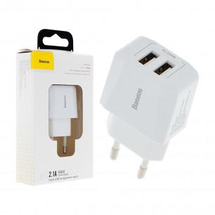 Сетевое зарядное устройство Baseus Mini Dual-U Charger (CCALL-MN02), 2.1A, 10.5W, 2 USB, White
