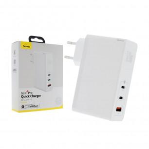 Сетевое зарядное устройство Baseus GaN2 Pro Quick Charger (CCGAN-J01), 120W, ( в комплекте - кабель Type-C ), White для ноутбков MacBook, Asus, Lenovo