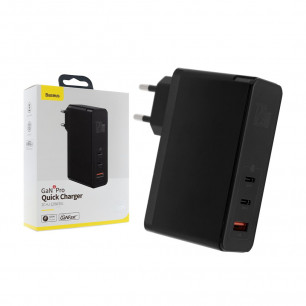 Сетевое зарядное устройство Baseus GaN2 Pro Quick Charger (CCGAN-J01), 120W, ( в комплекте - кабель Type-C ), Blac, для ноутбков MacBook, Asus, Lenovo