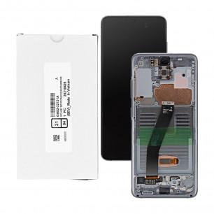 Дисплей Samsung G980 Galaxy S20 Cosmic Grey, GH82-22131A, с тачскрином, с рамкой, Service Pack Original, Black