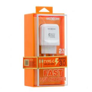 Сетевое зарядное устройство Moxom KH-31Y, QC 3.0, ( в комплекте - кабель Lightning )