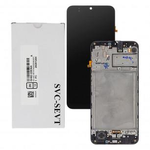 Дисплей Samsung A407 Galaxy A40s, M215 Galaxy M21, M305 Galaxy M30, M307 Galaxy M30s, GH82-21265A, GH82-22509A, с тачскрином, рамкой, Service P, Black