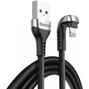 Кабель Baseus Green U-Shaped Lamp Mobile Game (CALUX-B01), USB to Lightning, 1.5A, 2m, Black