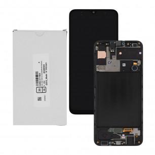 Дисплей Samsung A307 Galaxy A30s 2019, GH82-21190A, с тачскрином, рамкой, Service Pack Original, Black