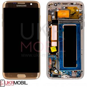 Дисплей Samsung G935 Galaxy S7 Edge, с тачскрином, рамкой, Original PRC, Gold