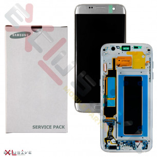 Дисплей Samsung G935 Galaxy S7 Edge, с тачскрином, рамкой, Original, Silver