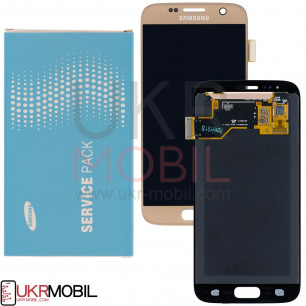 Дисплей Samsung G930 Galaxy S7 GH97-18523C (SERVICE PACK ORIGINAL) с тачскрином Gold
